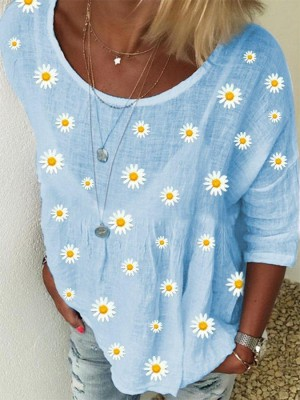 White Crew Neck Floral Shift Casual Blouse
