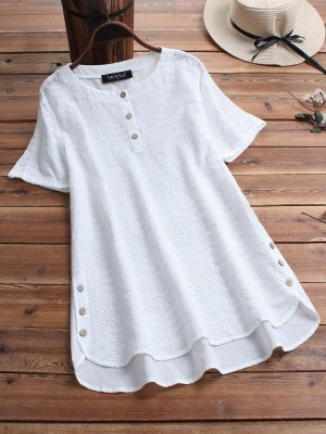 Bohemian Embroideried Short Sleeve Blouse With Button