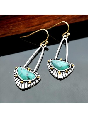 Women's Fashion Inlaid Turquoise Long Earrings