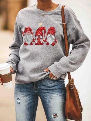 Women's Casual Loose Christmas 3 Santa Print Crew Neck Pullover Sweater