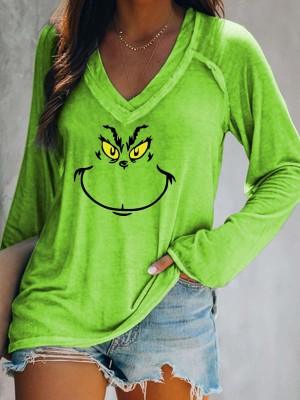 Women's Grinch Print VNeck Long Sleeve Top