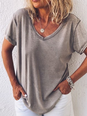 Casual Short Sleeve Gray TShirt