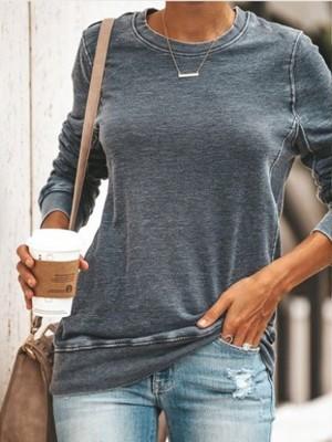 Gray Casual Round Neck Sweatshirt