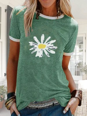Green Short Sleeve Crew Neck Shirts & Tops