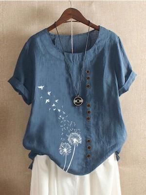 Flower Birds Print Short Sleeve T-shirt With Button