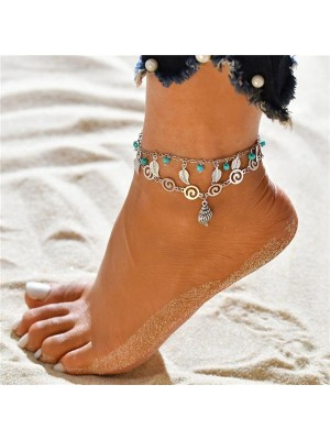National Wind Double Pendant Beach Anklet