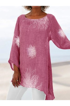 Printed Long Sleeve Casual  Crew Neck Printed Linen Blouse