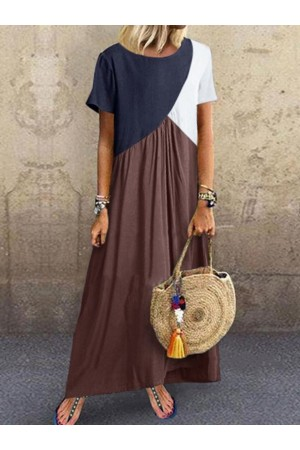 Crew Neck Brown Women Shift Beach CottonBlend Maxi Dresses