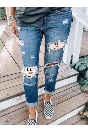 Women's Snowman Face Printe Christmas Jeans