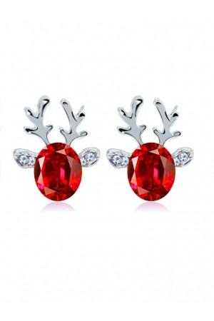 Crystal Gem Antler Stud Earrings