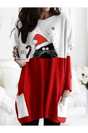Women's Christmas Spliced Color Christmas Hat Cat Printed Long Sleeve Tshirts