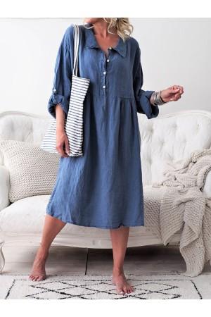 Aphrogarden Basic Long Sleeve Shirt Collar Buttoned Maxi Dress