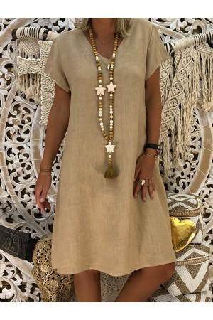 Casual CottonBlend VNeck Short Sleeve Dresses