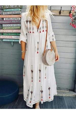 Three-Quarter Sleeve Ankle-Length Print High Waist Pullover Dress