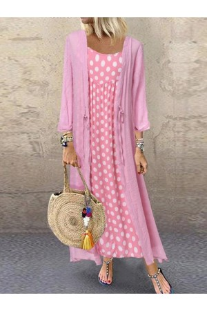 Casual Polka Dot TwoPiece Maxi Dress
