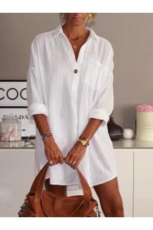 Casual V Neck Cotton Plain Dresses