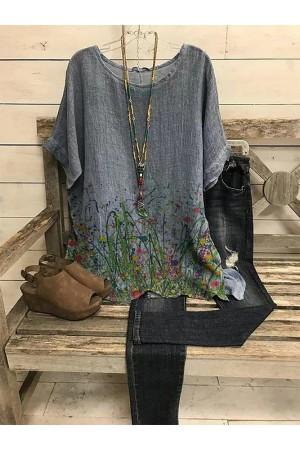 Crew Neck Casual Floral Linen Shirts & Tops