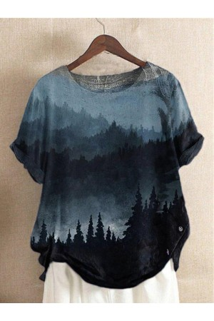 Short Sleeve Casual Printed Tie-dye T-shirts