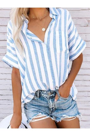 Cotton Buttoned Short Sleeve Striped Top