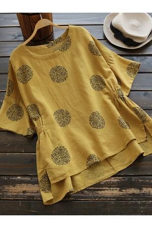 Plus Size Half Sleeve Casual Polka Dot Blouse