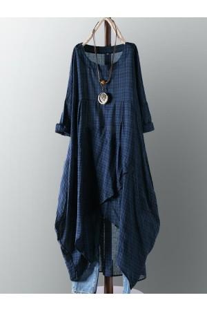 Vintage Plaid Crew Neck Long Sleeve Asymmetrical Dress