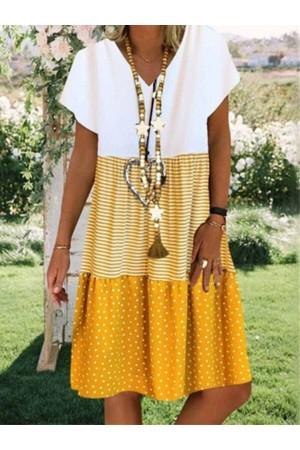 Casual V-neck Printed Short Sleeve Mini Dress