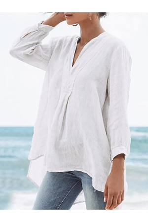 Asymmetric Plain V-Neck Mid-Length Nine Points Sleeve Blouse