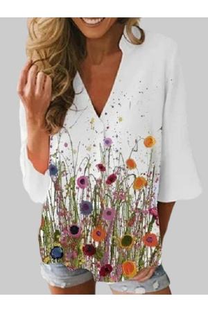 Flower Print Vneck 3/4 Sleeve Casual Blouse For Women