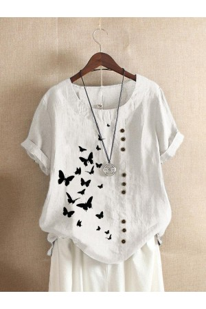 Butterflies Print Short Sleeve Casual T-shirt With Button