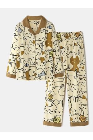 Women Cotton Allover Cute Cartoon Cat Print Cozy Lapel Collar Long Pajamas Sets
