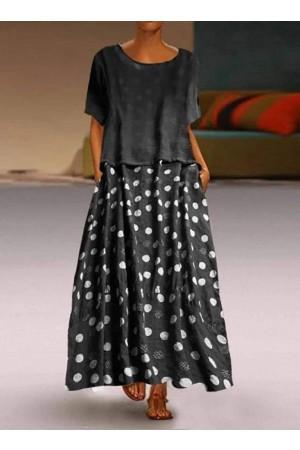 Casual Round Collar Dot Print Dresses