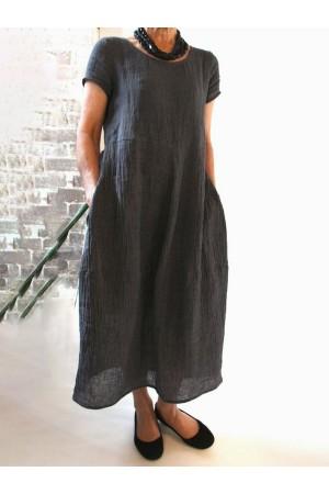 Summer Pockets Round Neck Shift Linen Maxi Dresses