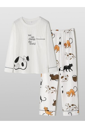 Women Cotton Ribbed Cartoon Cat Letter Printed Round Neck Cute Long Sleepwear Sets