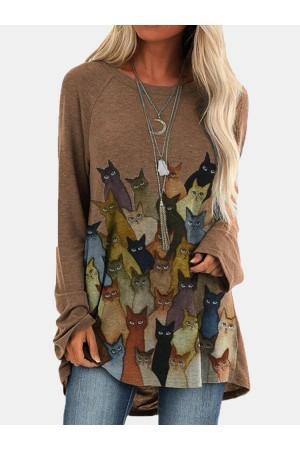 Cartoon Cat Print O-neck Long Sweatshirt For Women