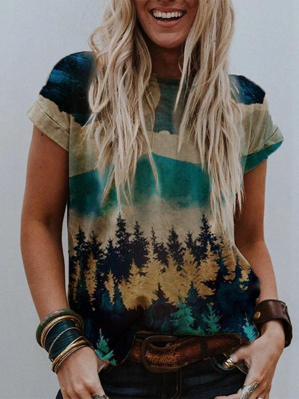 Ladies Mountain Print Crew Neck Tshirt