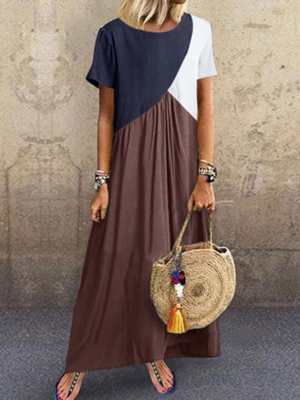 Crew Neck Brown Women Shift Beach CottonBlend Maxi Dresses