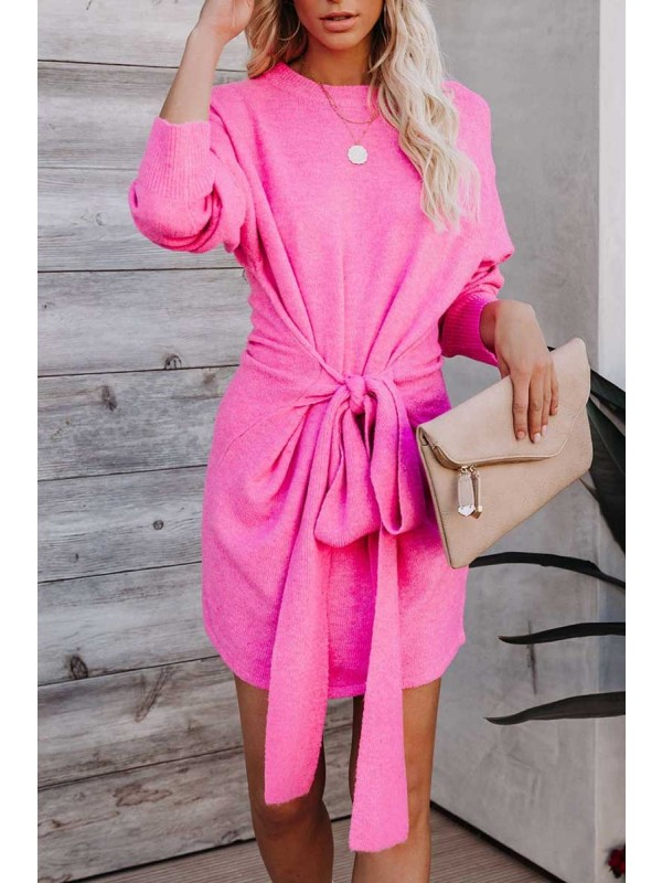 HOT PINK WRAPPED UP IN YOU KNIT SWEATER DRESS