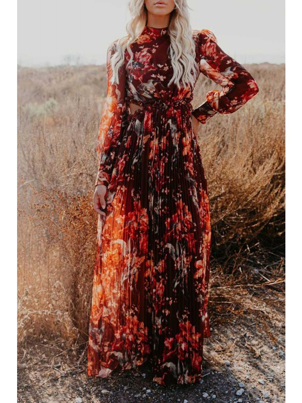 WEEPING WILLOW PLEATED CUTOUT MAXI DRESS