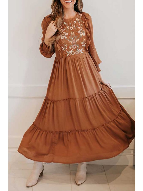 EMBROIDERED MIDI DRESS IN TOFFEE