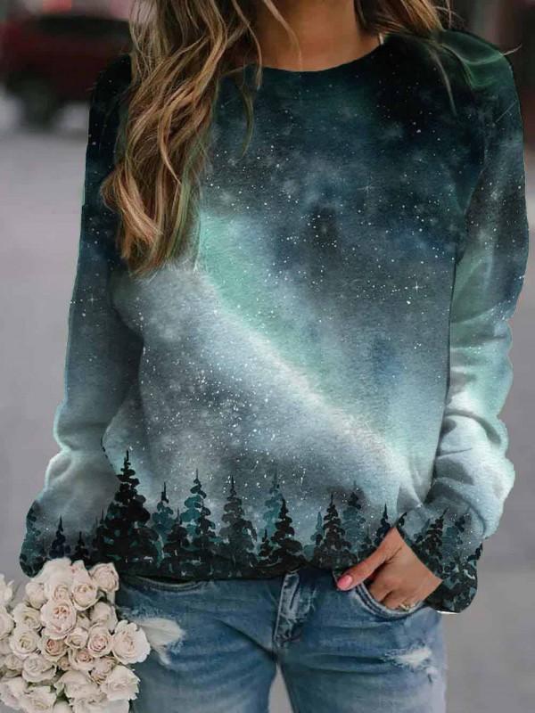 Women's Northern Lights Treetop Print Sweatshirt