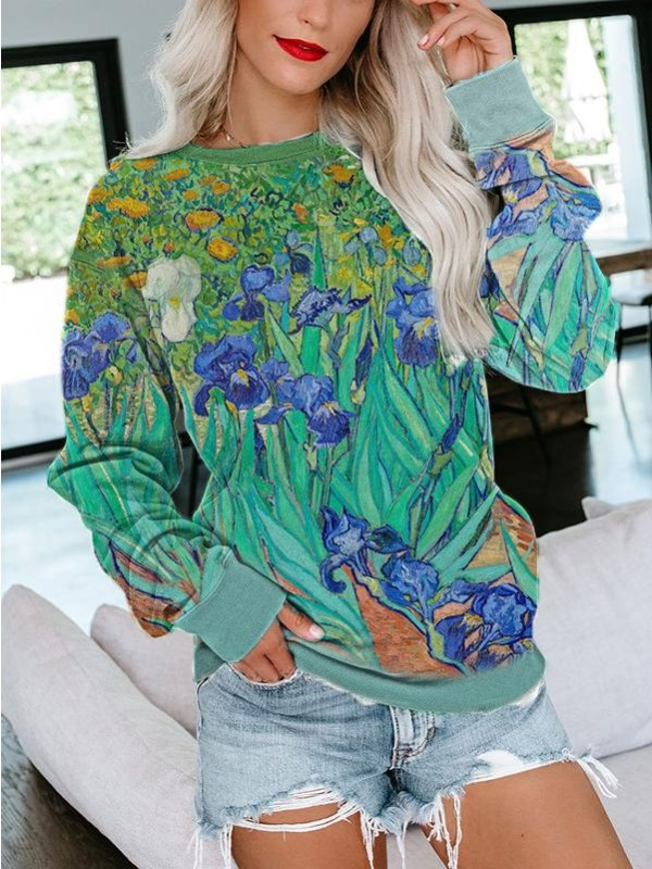 Ladies Van Gogh Irises print sweatshirt