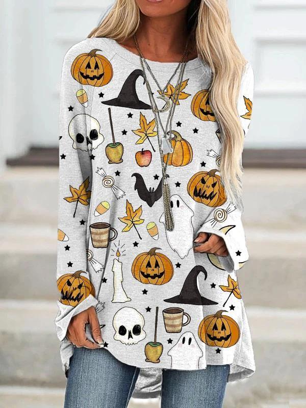 Women's Casual Loose Happy Halloween Pattern Printed Crew Neck Long TShirt