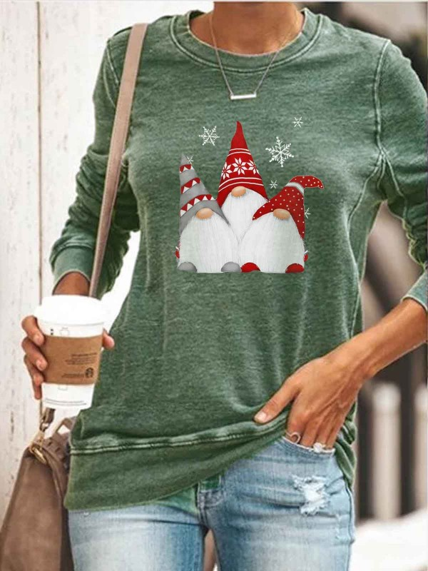 (promotion ends)Women's Scandinavian Christmas Gnomes Print Casual Sweatshirt