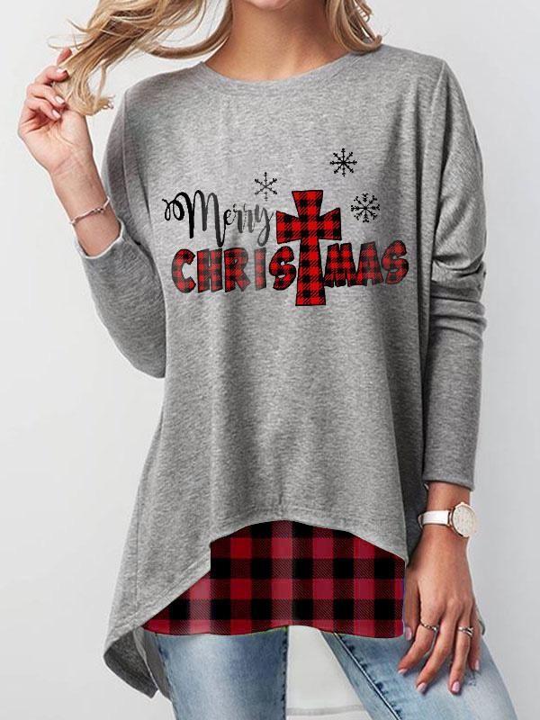 Ladies Red Plaid Merry Christmas Print Sweatshirt