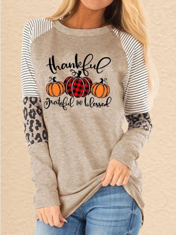 Women's Thanksful Grateful And Blessed Printed Leopard Stitching Casual Sweatshirt