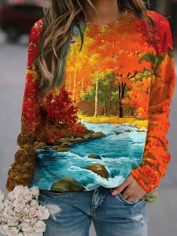 Women's Red Maple Forest Print Long Sleeve Sweatshirt