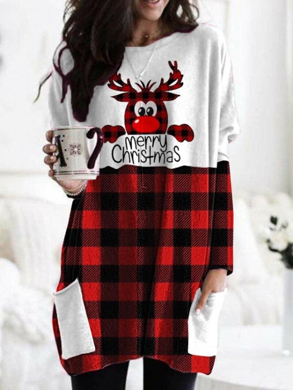 Women's Christmas Deer Merry Christmas Printed Tshirt