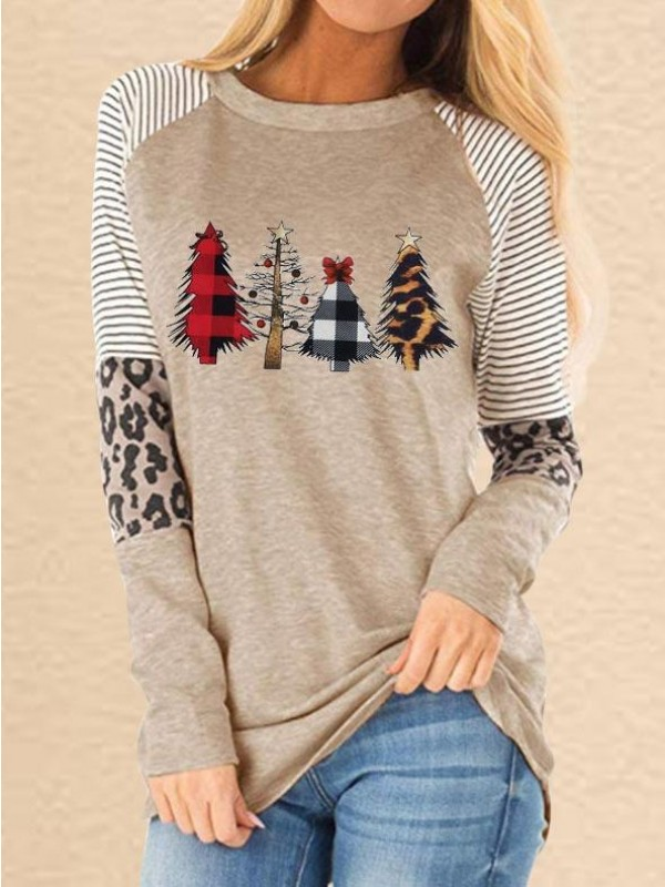 Christmas Trees Plaid Leopard TShirt