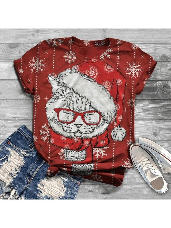 Women's Casual Christmas Christmas Wear Glasses Cat Pattern Printed Round Neck TShirt