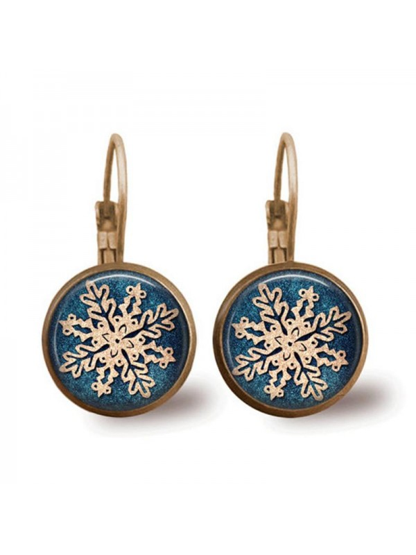 Christmas snowflake time gem earrings
